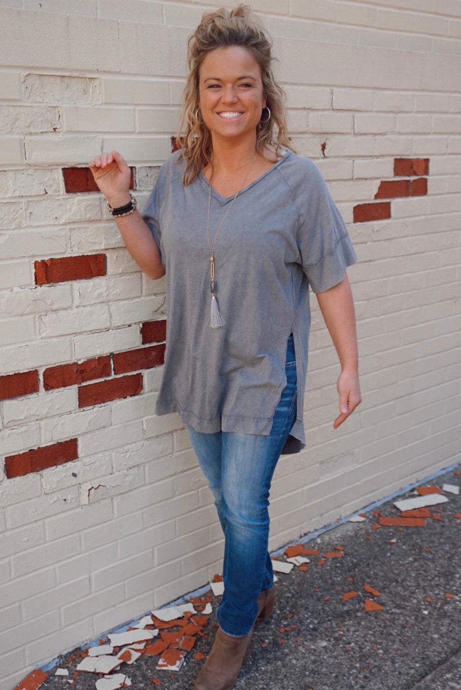 Livin' For The Weekend Grey Tunic
