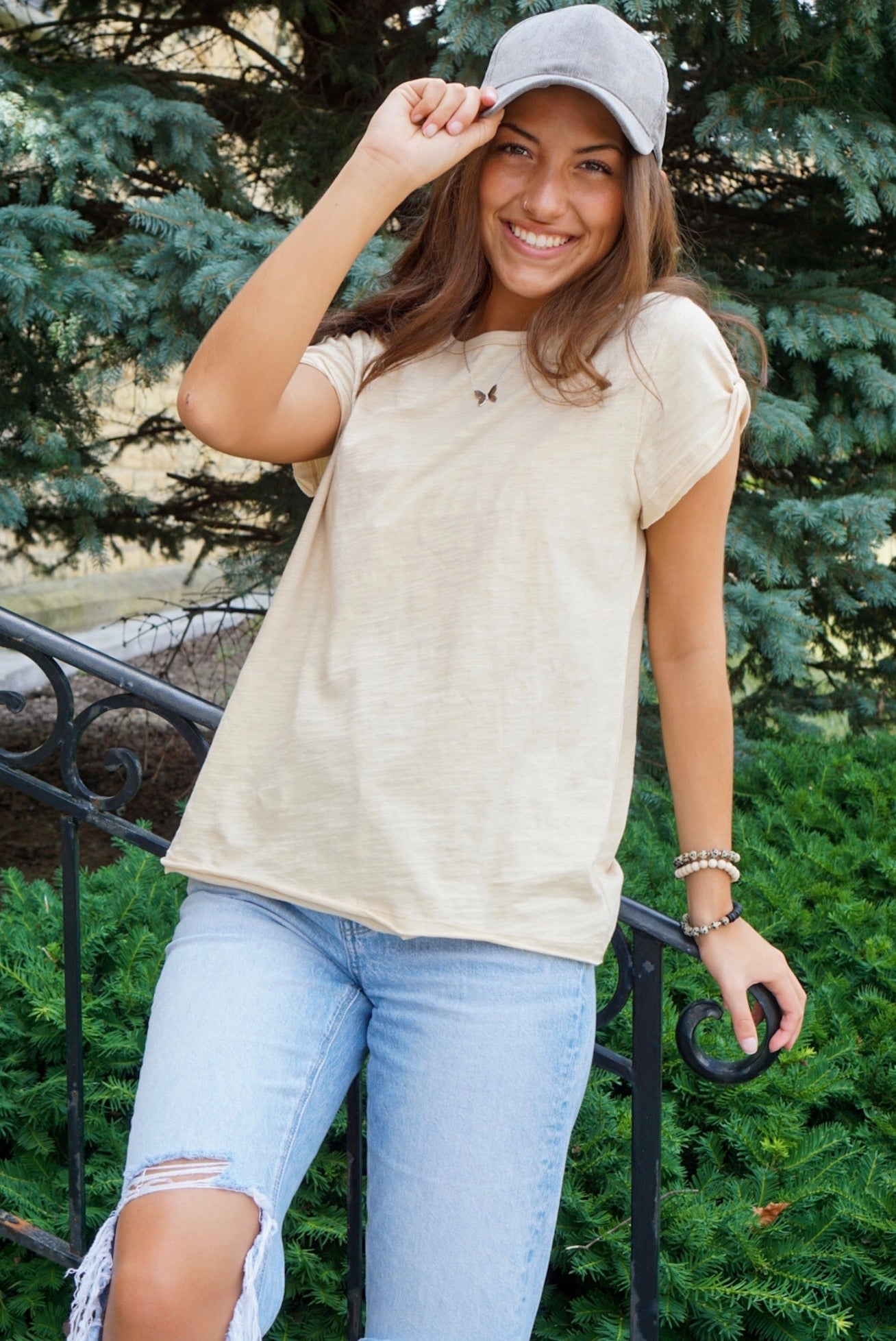 Come Around Taupe Tee