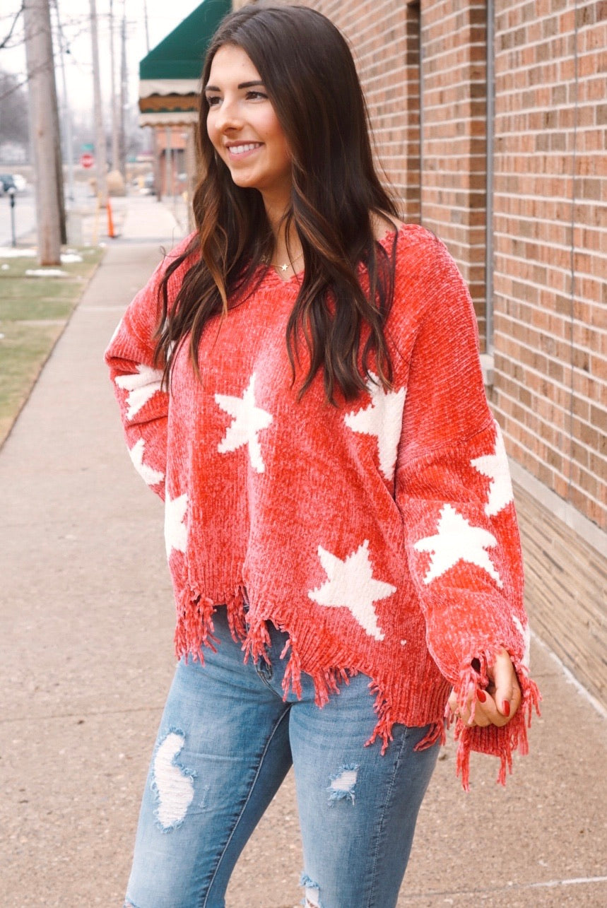 Callin' The Shots Rose Curvy Star Chenille Sweater