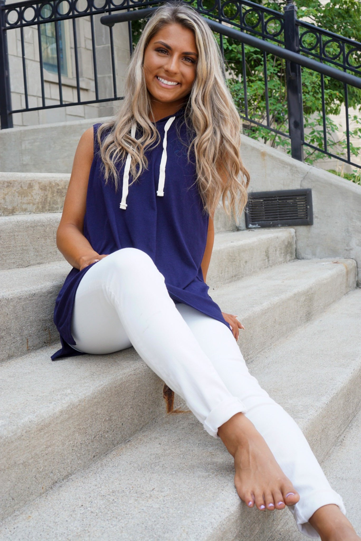 Lake Girl Navy Hooded Tank