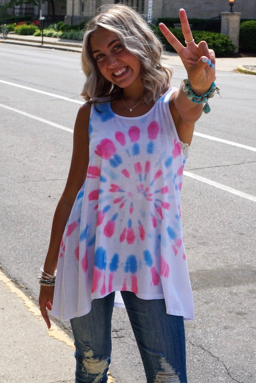 Pink And Blue Tie Dye Tank