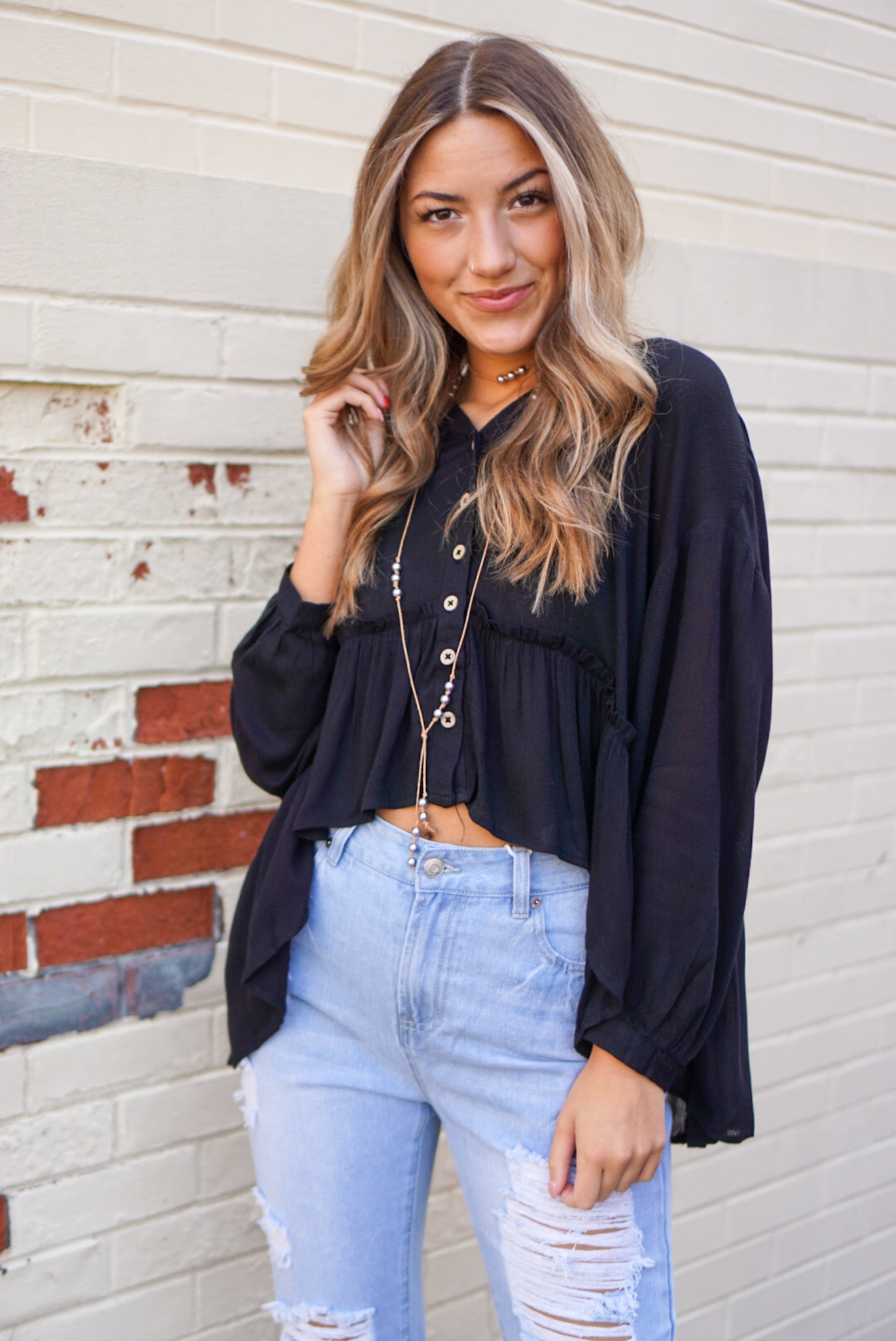 Willow Black Blouse