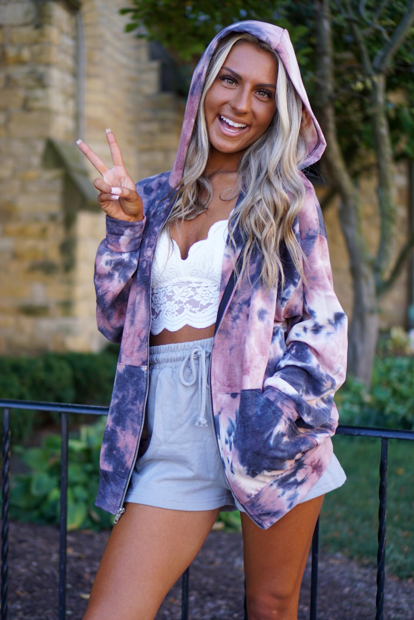 On My Mind Mauve Tie Dye Jacket