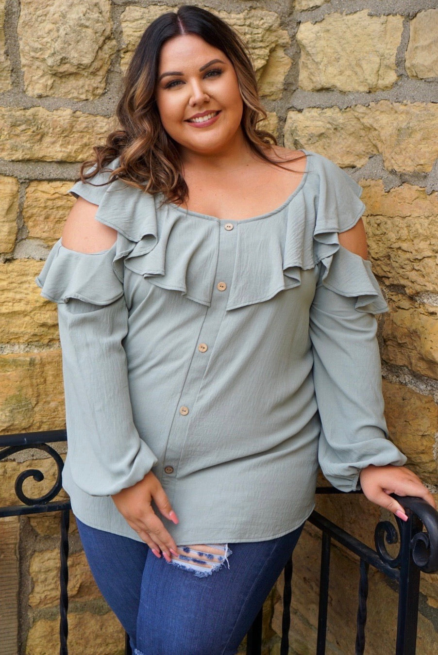 Wendy Curvy Sage Ruffled Blouse