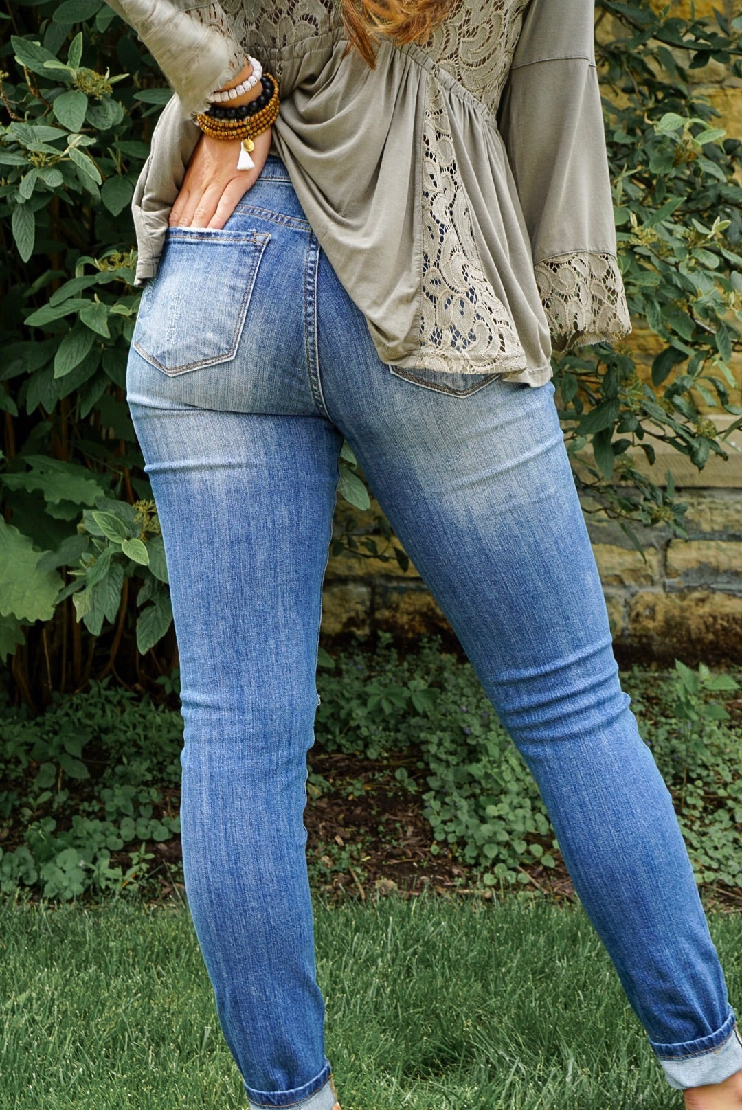 Midwash Blue Distressed Skinny Jeans
