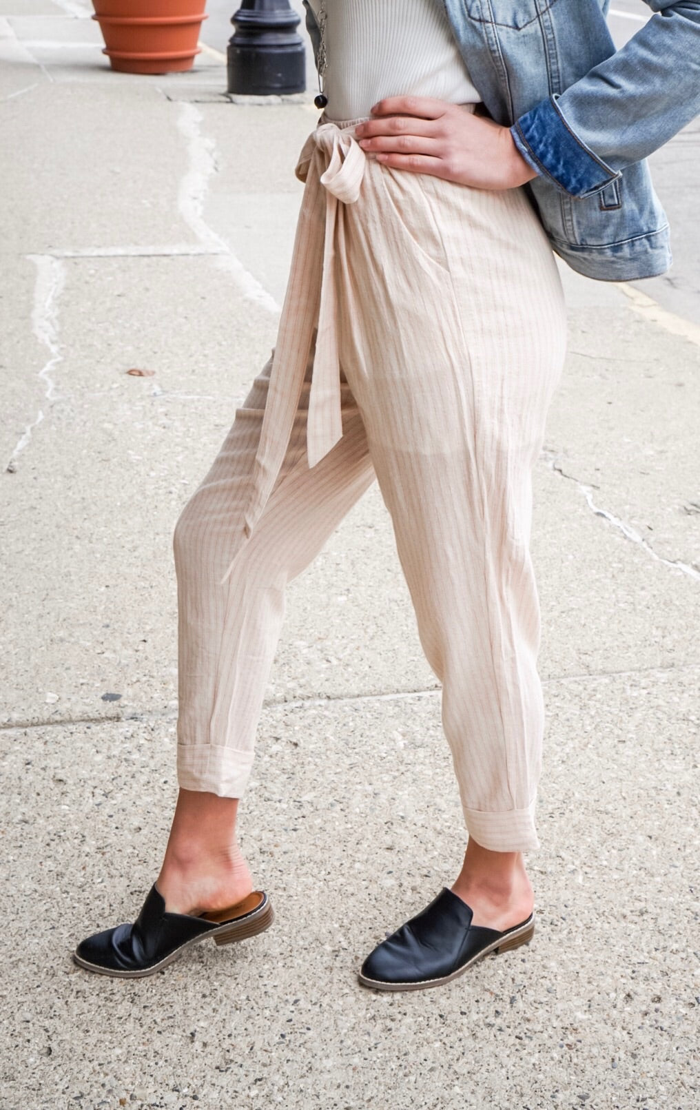 Pink and Ivory Striped Tie Pant