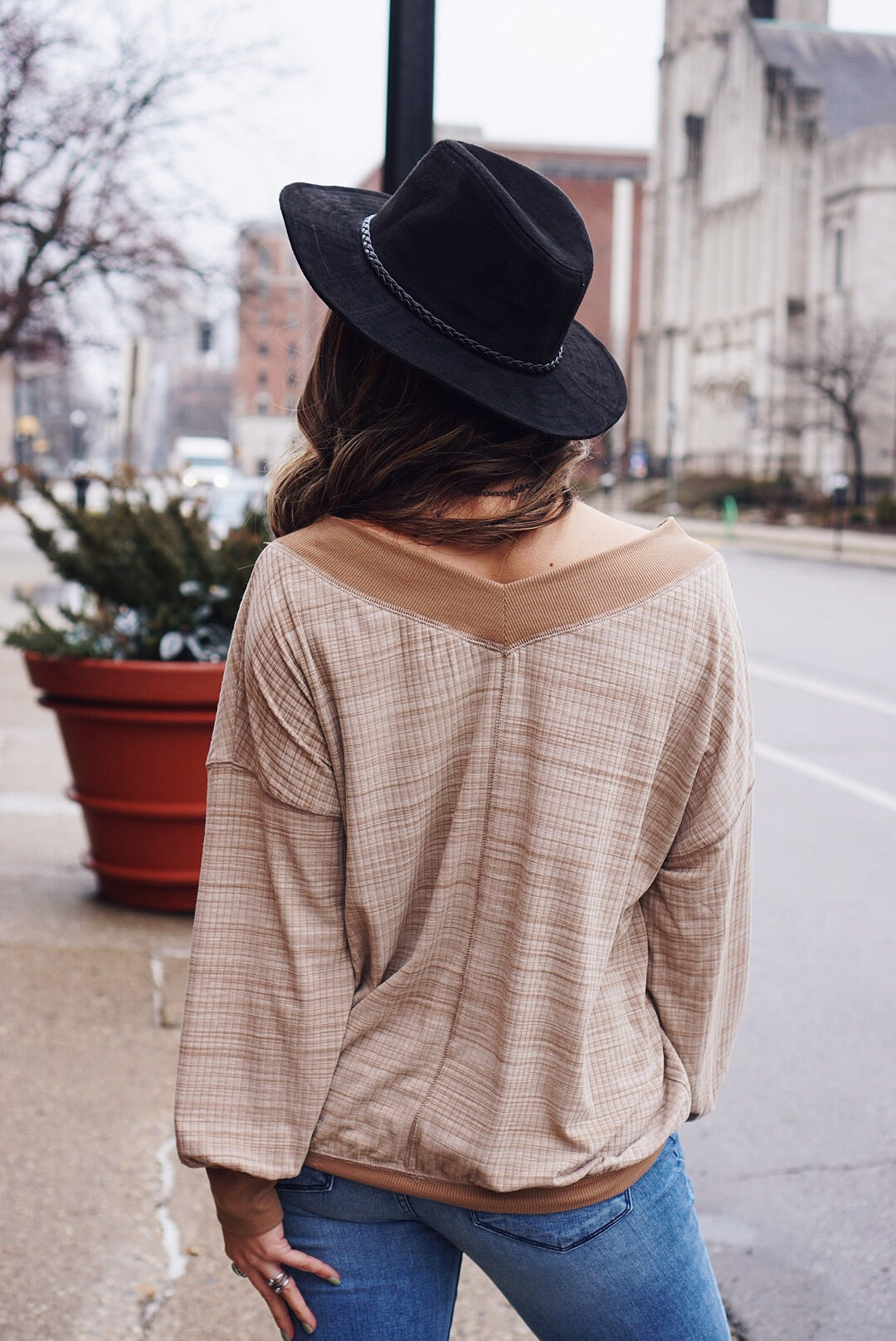 Taupe V-Neck Slouchy Top