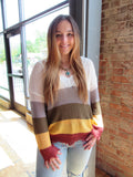 Frayed V-neck Striped Lightweight Sweater