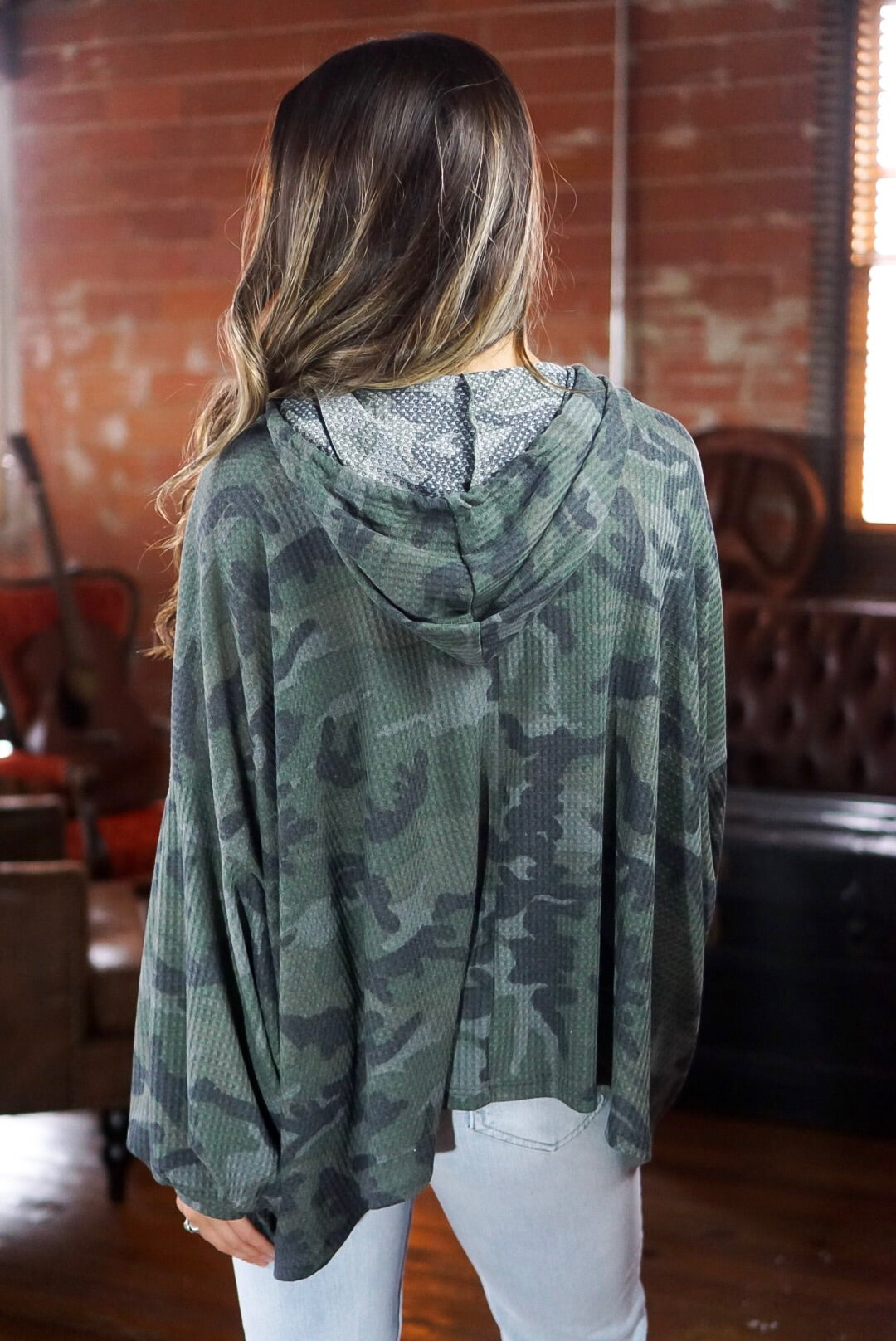 Camo Thermal Henley Hoodie