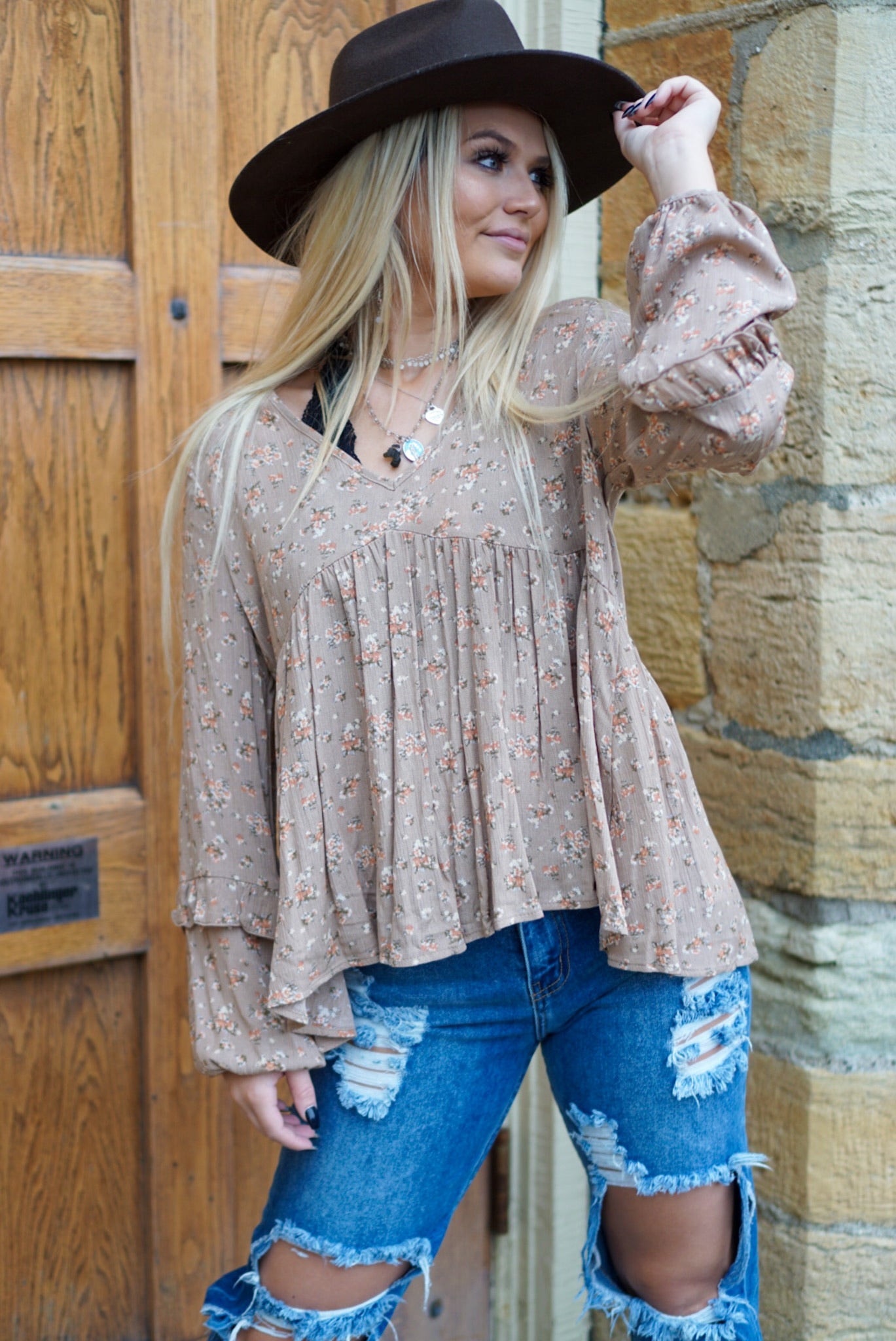 Be Yours Taupe Blouse