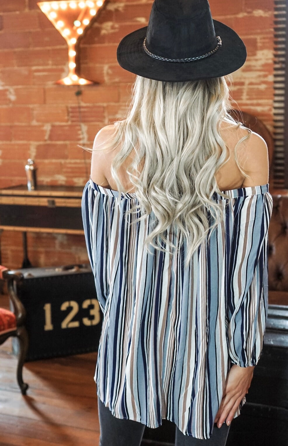 Blue Multicolored Off The Shoulder Top