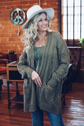 Textured Drop Shoulder Cardigan