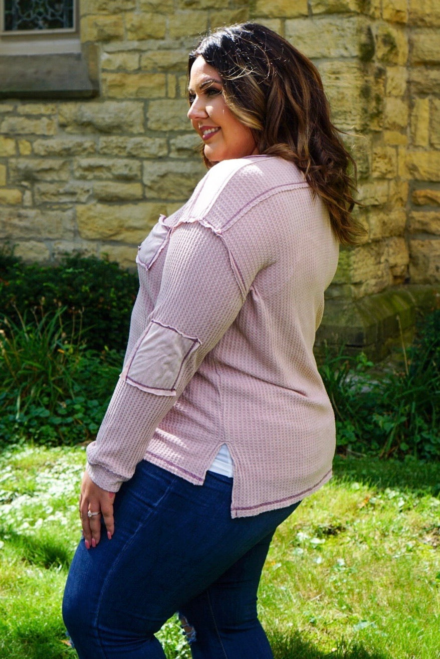 Huckleberry Curvy Mauve Thermal Henley