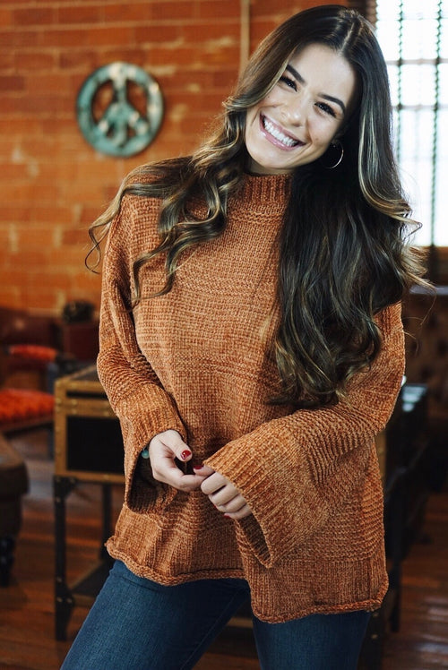 Camel Chenille Knit Patterned Sweater