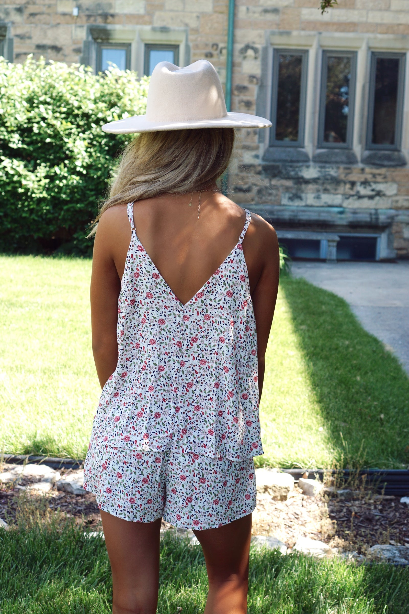 Walking On Sunshine Ivory Floral Romper