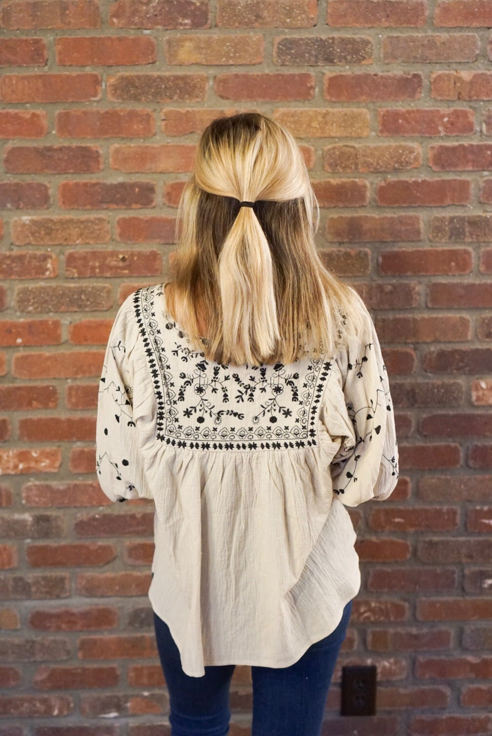 Stone Embroidered Peasant Blouse
