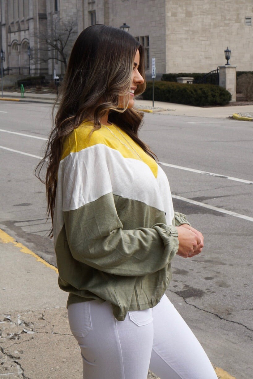 Olive Varsity Striped Top