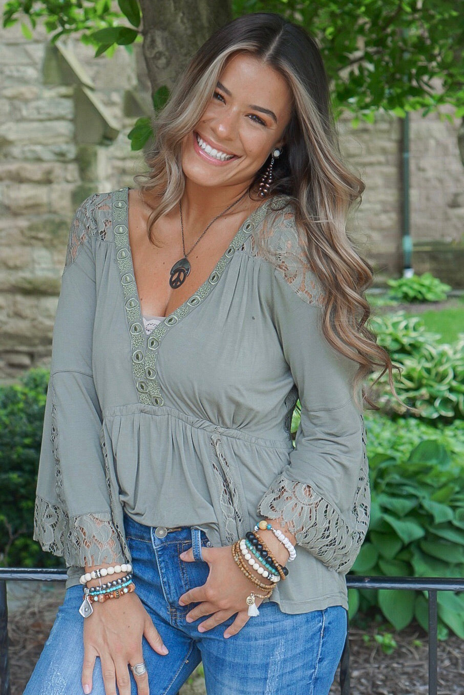 Olive Lace Peasant Top