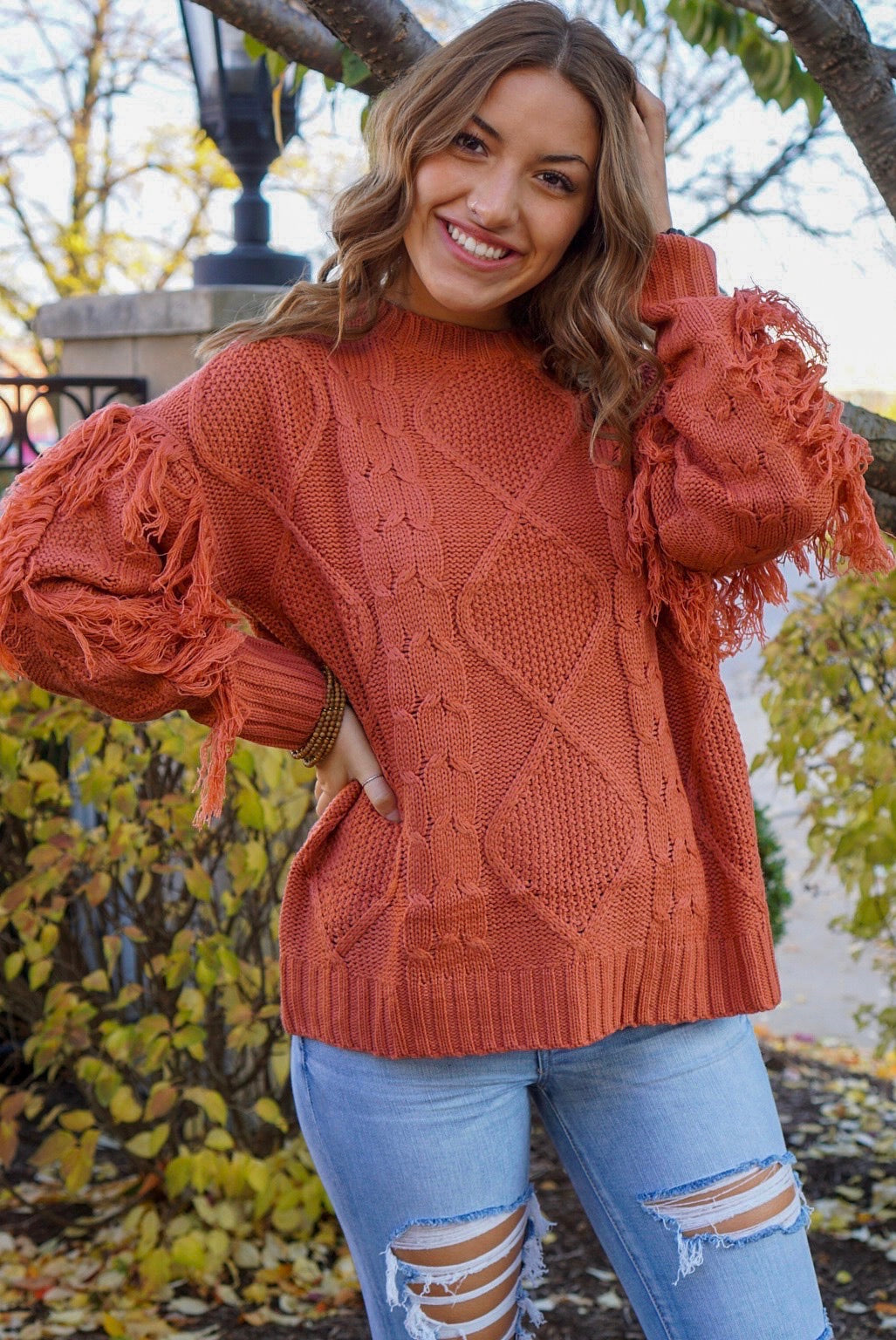 PSL Rust Fringe Sweater