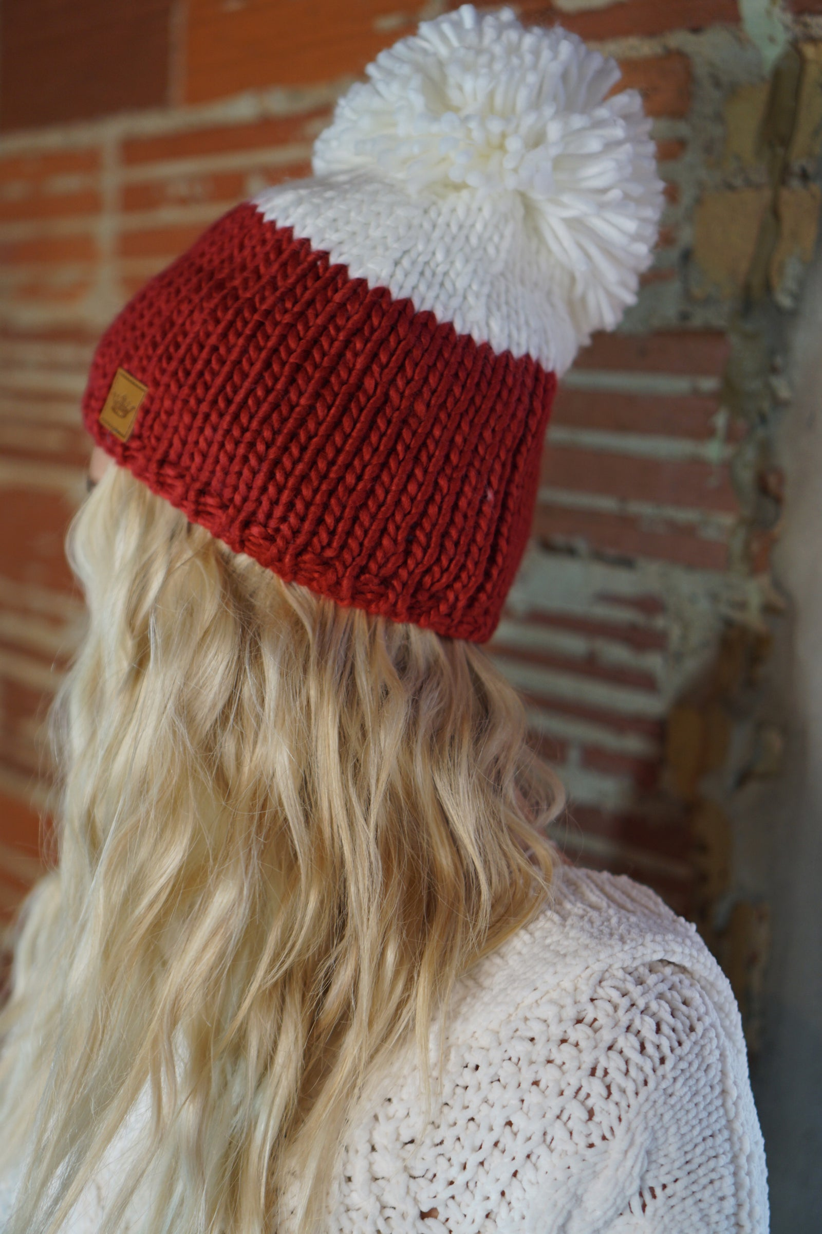 Red Color Block Beanie