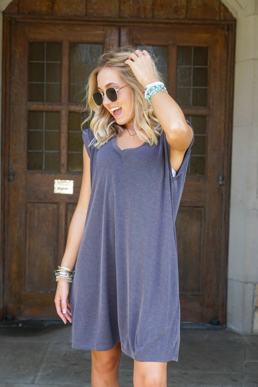 Ash Ribbed Tank Dress