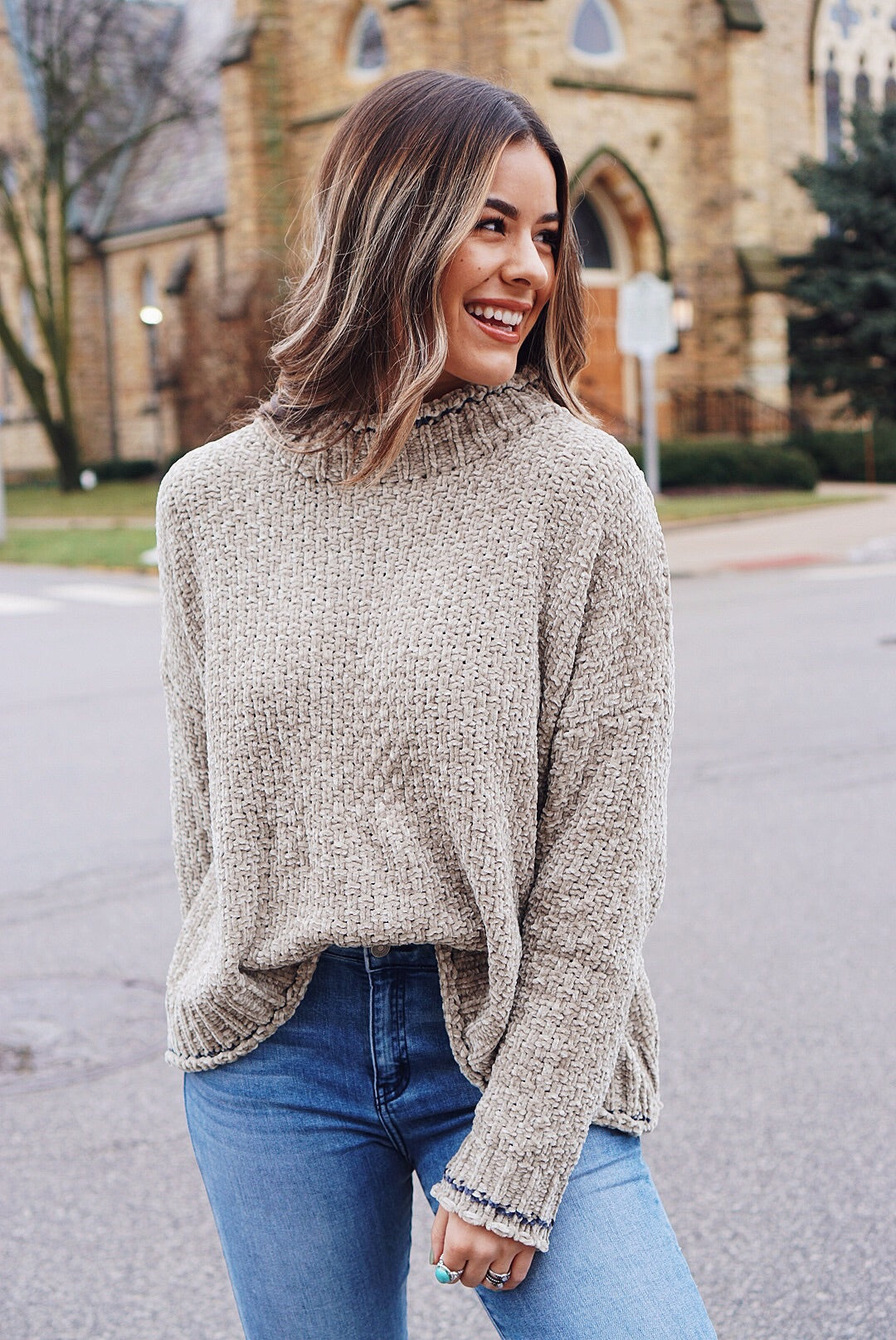 Olive Chenille Mock Neck Sweater
