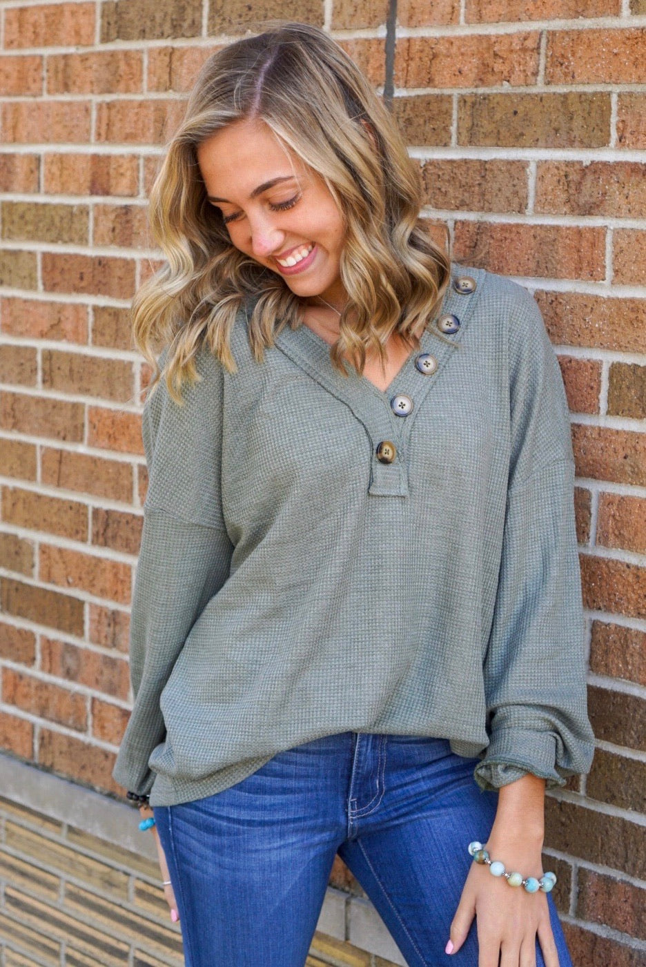 Free Fallin' Olive Thermal Henley
