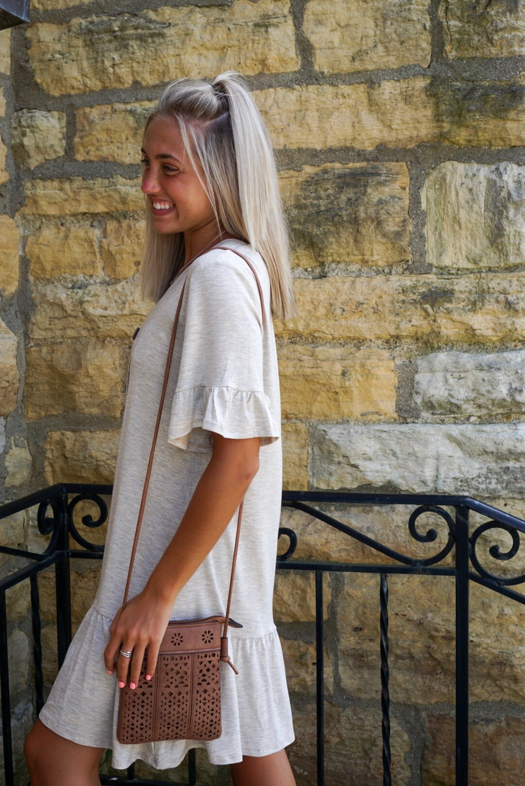 Oatmeal Button Up Dress