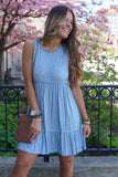 Blue Washed Lace Detail Dress