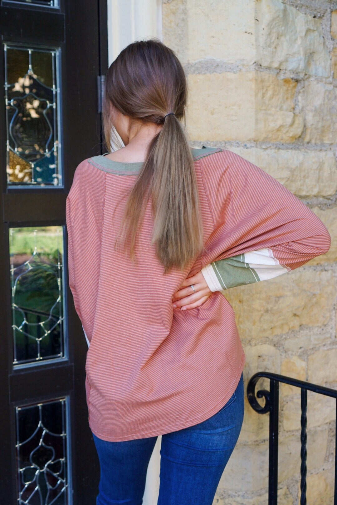 Abela Cinnamon Striped Top