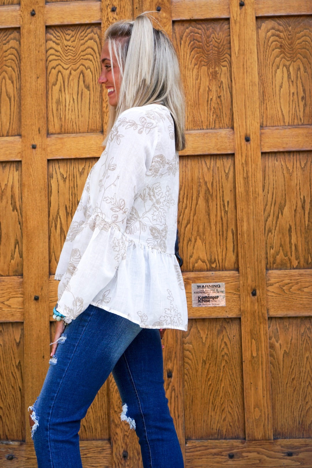 Cream Floral Button Up Top