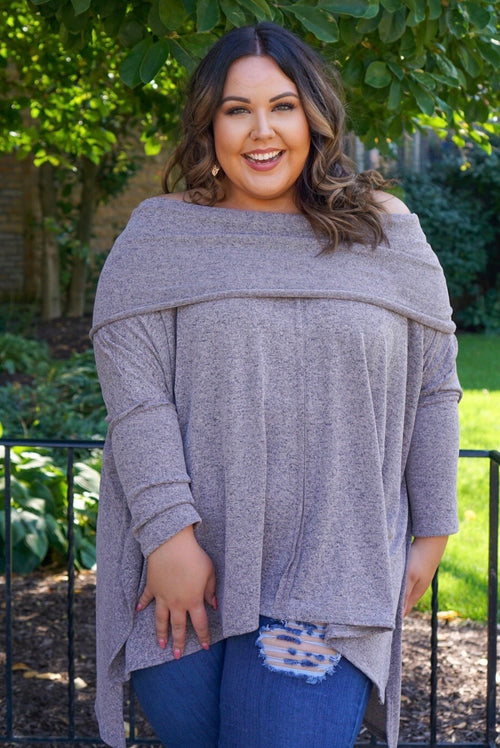 Celeste Curvy Mocha Off The Shoulder Tunic