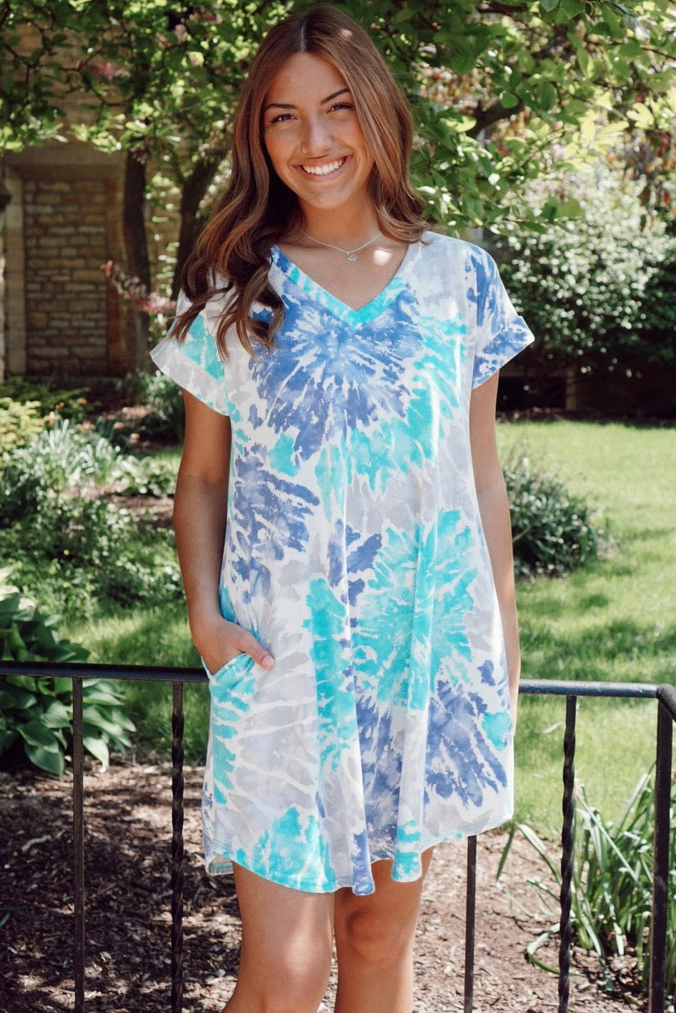 So Wavy Aqua Tie Dye Dress