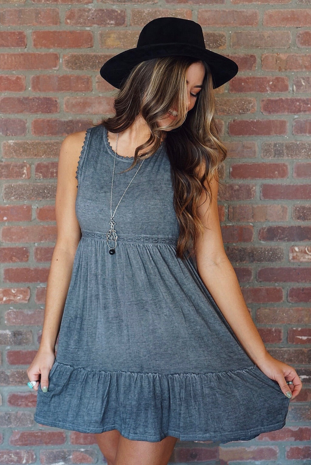 Ash Washed Lace Detail Dress