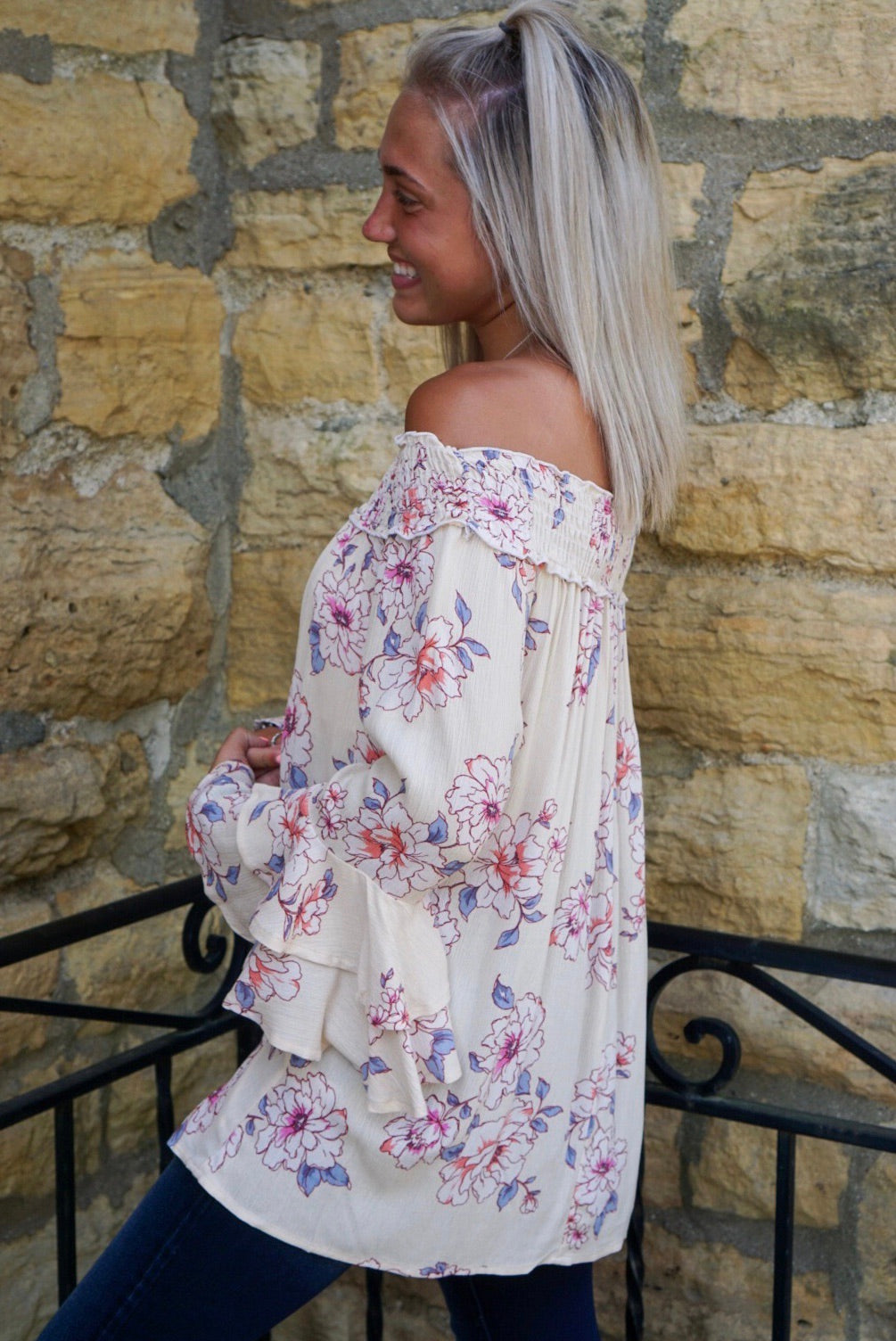 Oatmeal Floral Off The Shoulder Top
