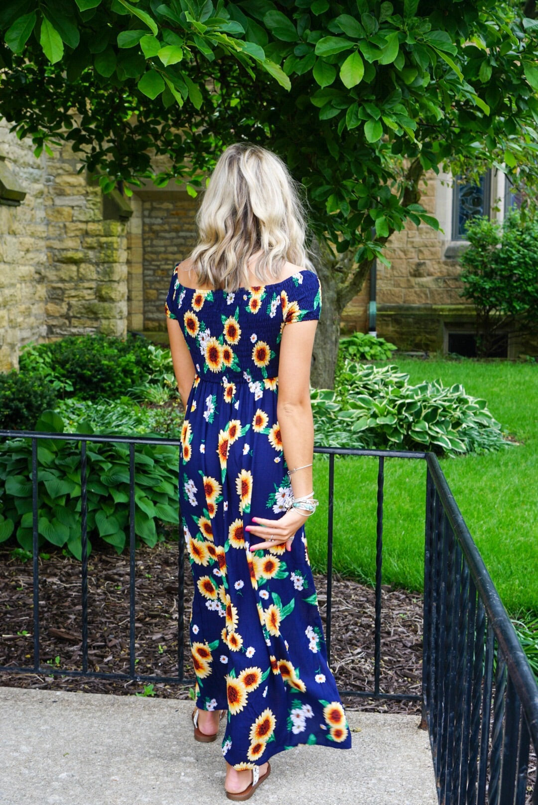Navy Sunflower Maxi Dress