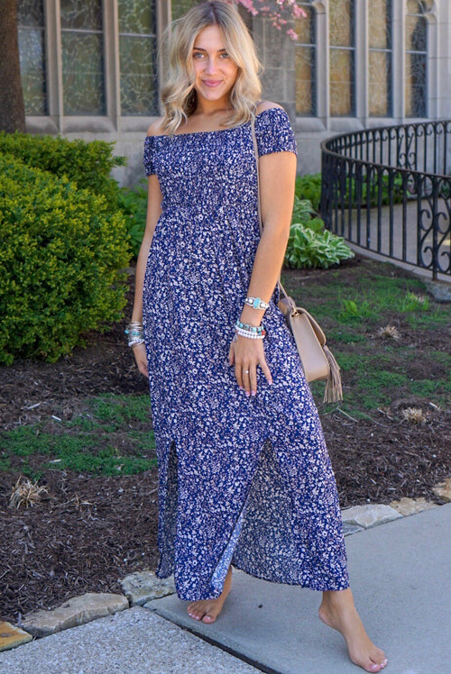Navy Smocked Floral Dress