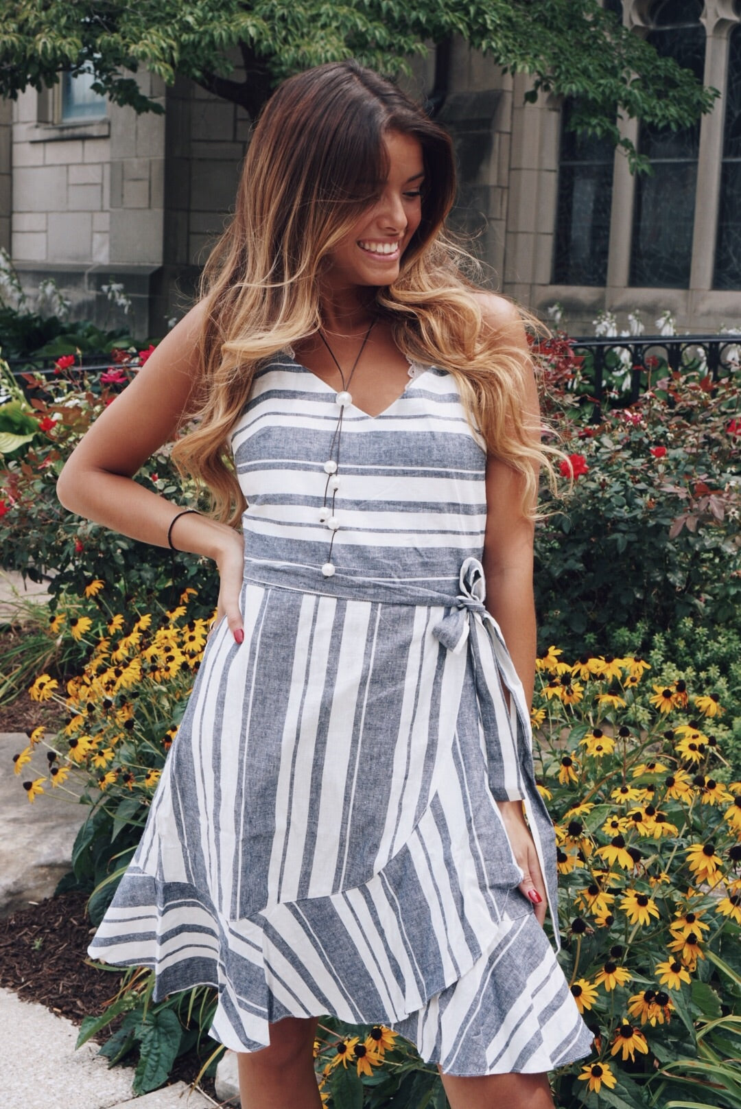 Sadie Striped Wrap Dress