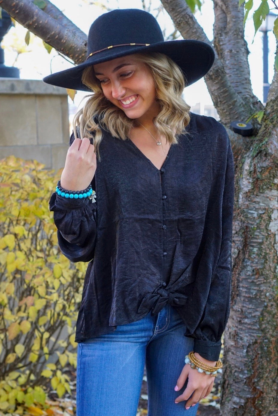 Belladonna Black Button Down Blouse