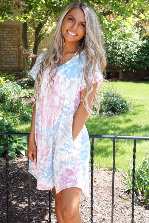 So Wavy Blue Tie Dye Dress