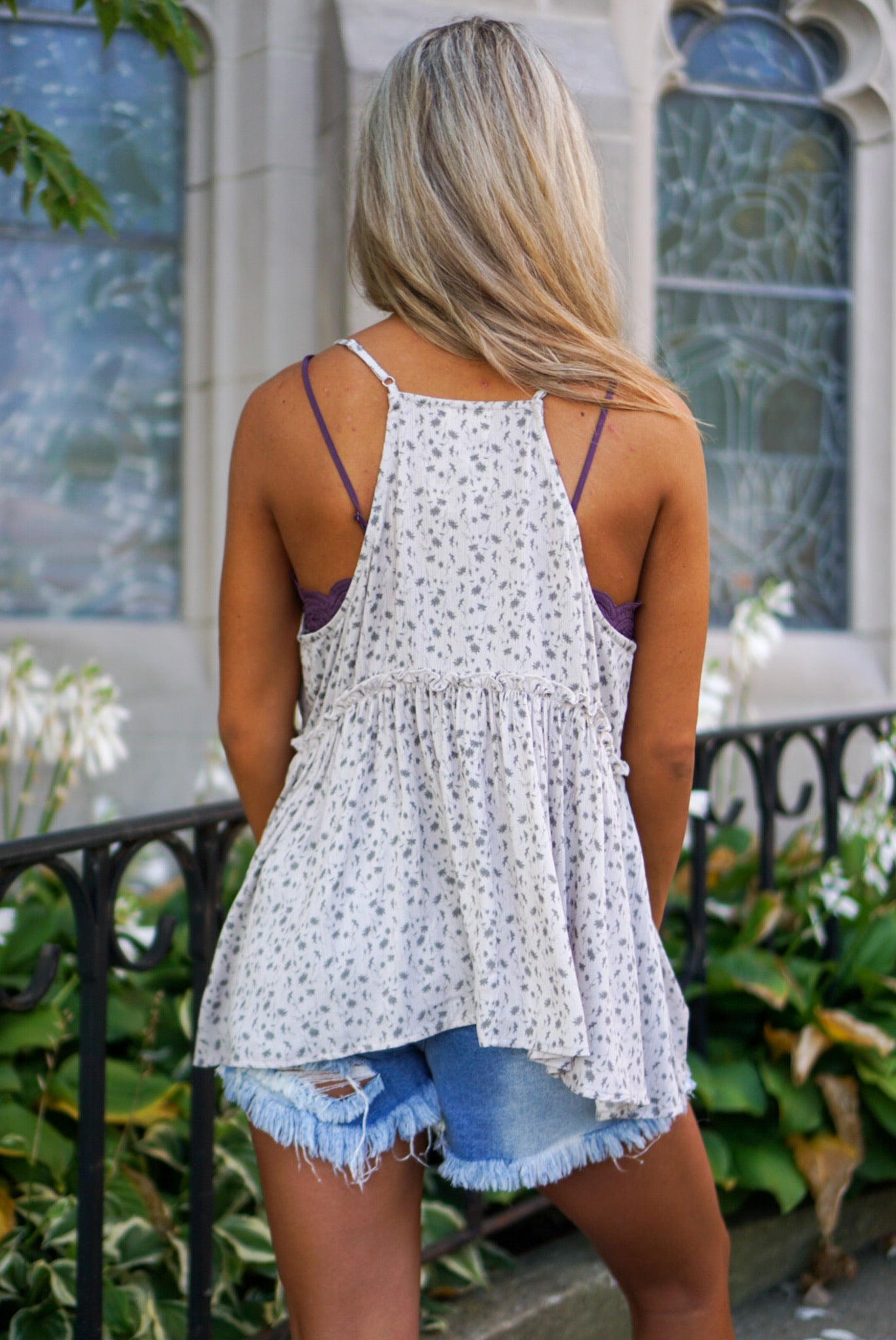 Honey Bee Oatmeal Floral Tank