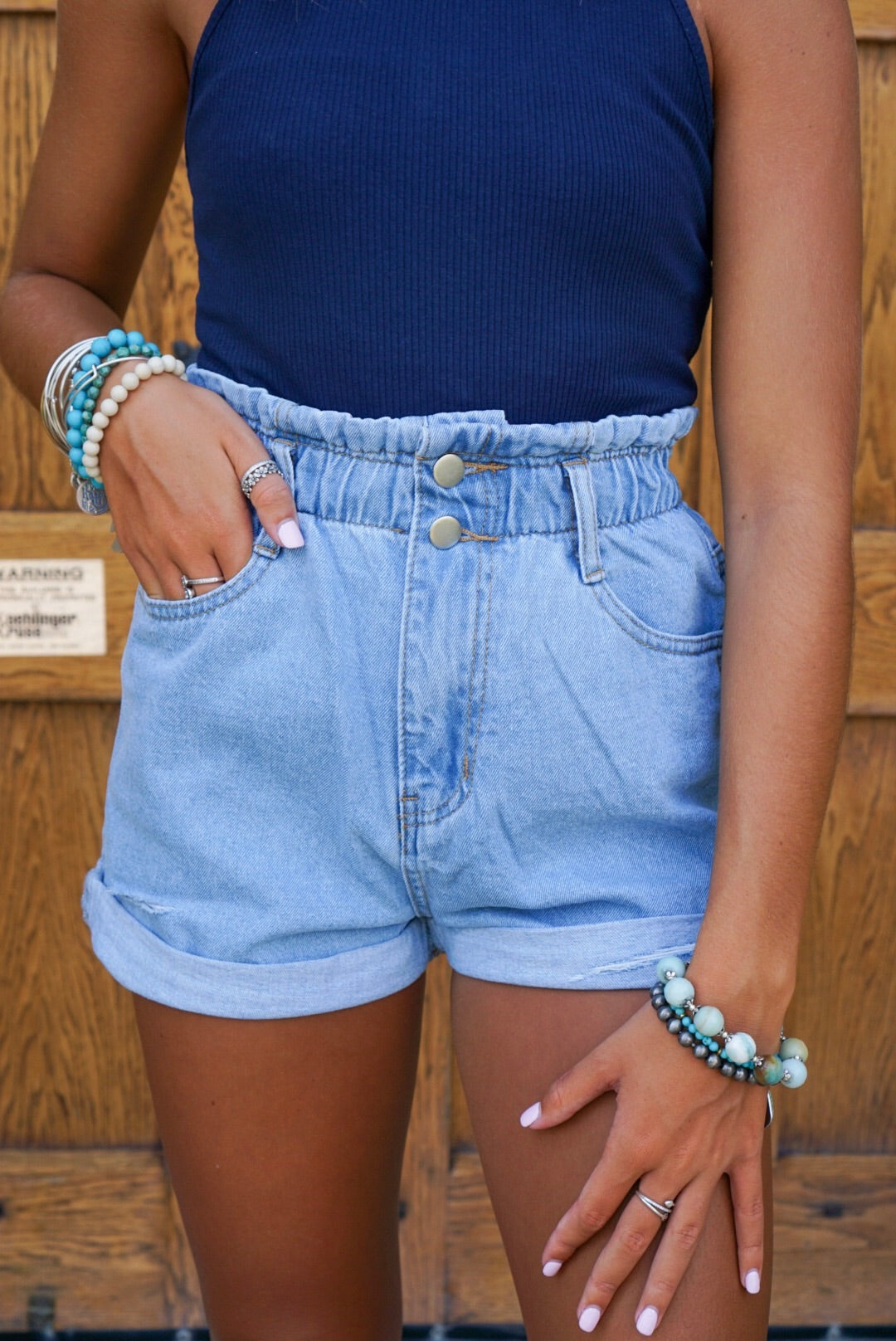 Mid Wash Paper Bag Denim Shorts