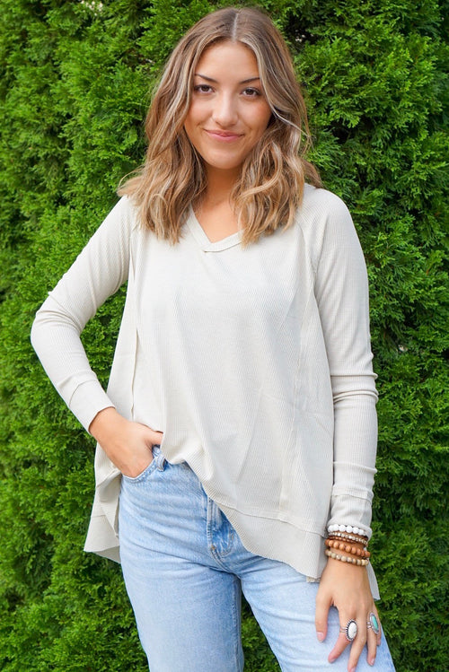 Landry Taupe Ribbed Top