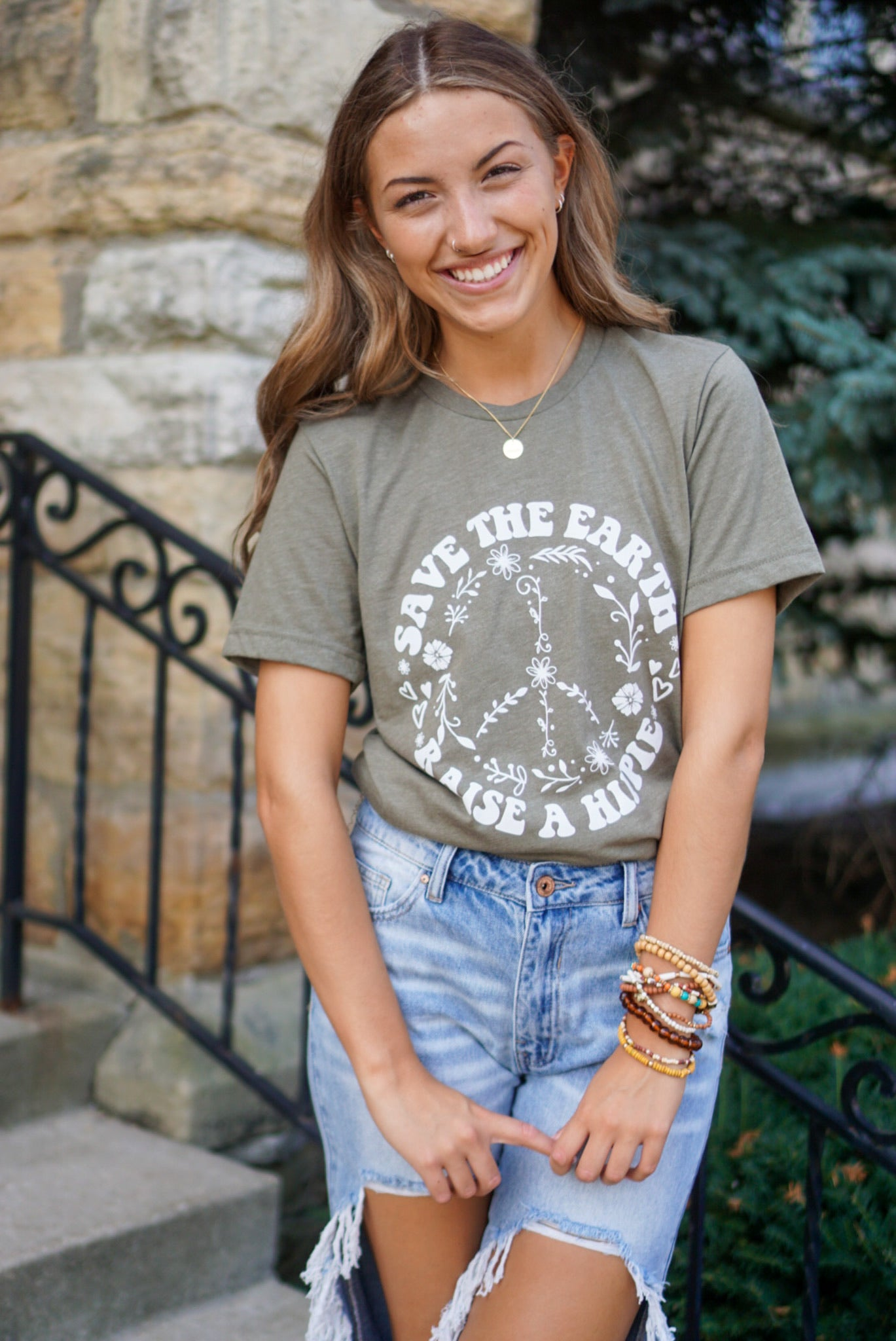 Save The Earth Olive Graphic Tee