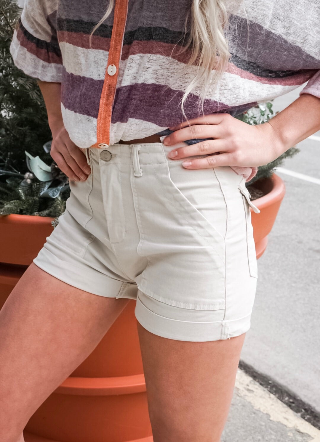 Cream High Rise Twill Shorts