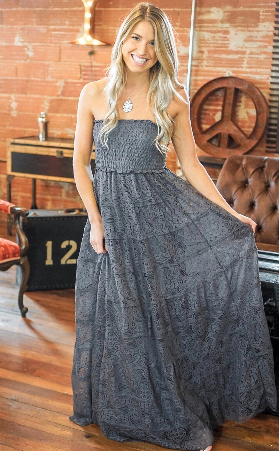 Grey Lace Strapless Dress