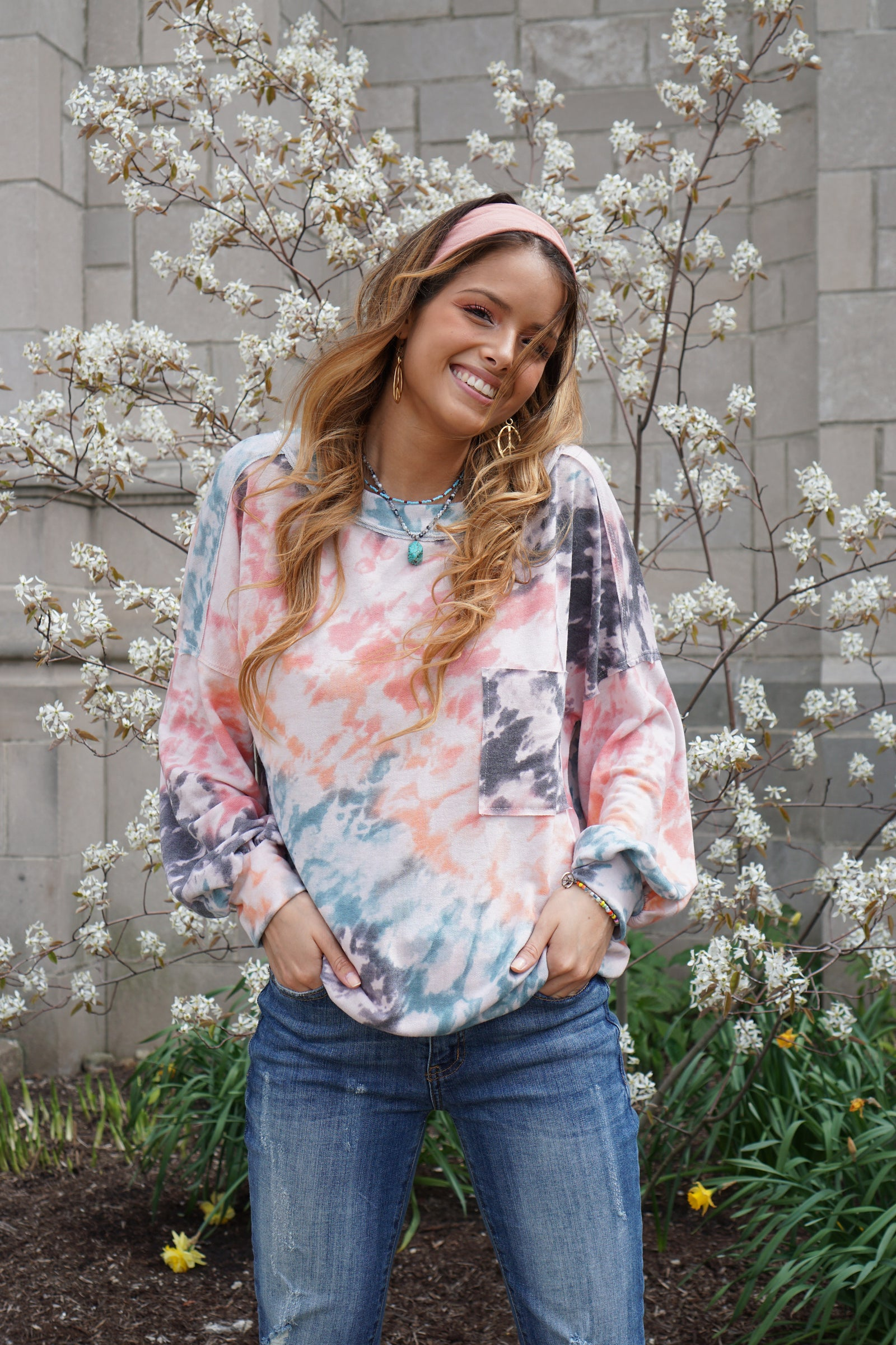 Work From Home Rose Tie Dye Pullover
