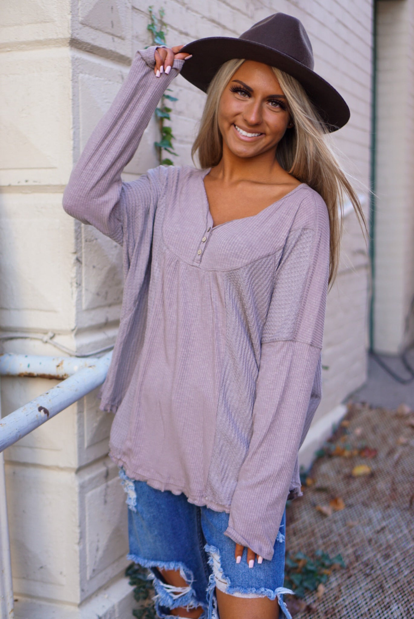 Fall Breeze Mocha Henley