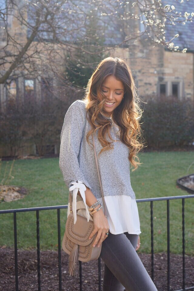 Penny Grey Layered Top