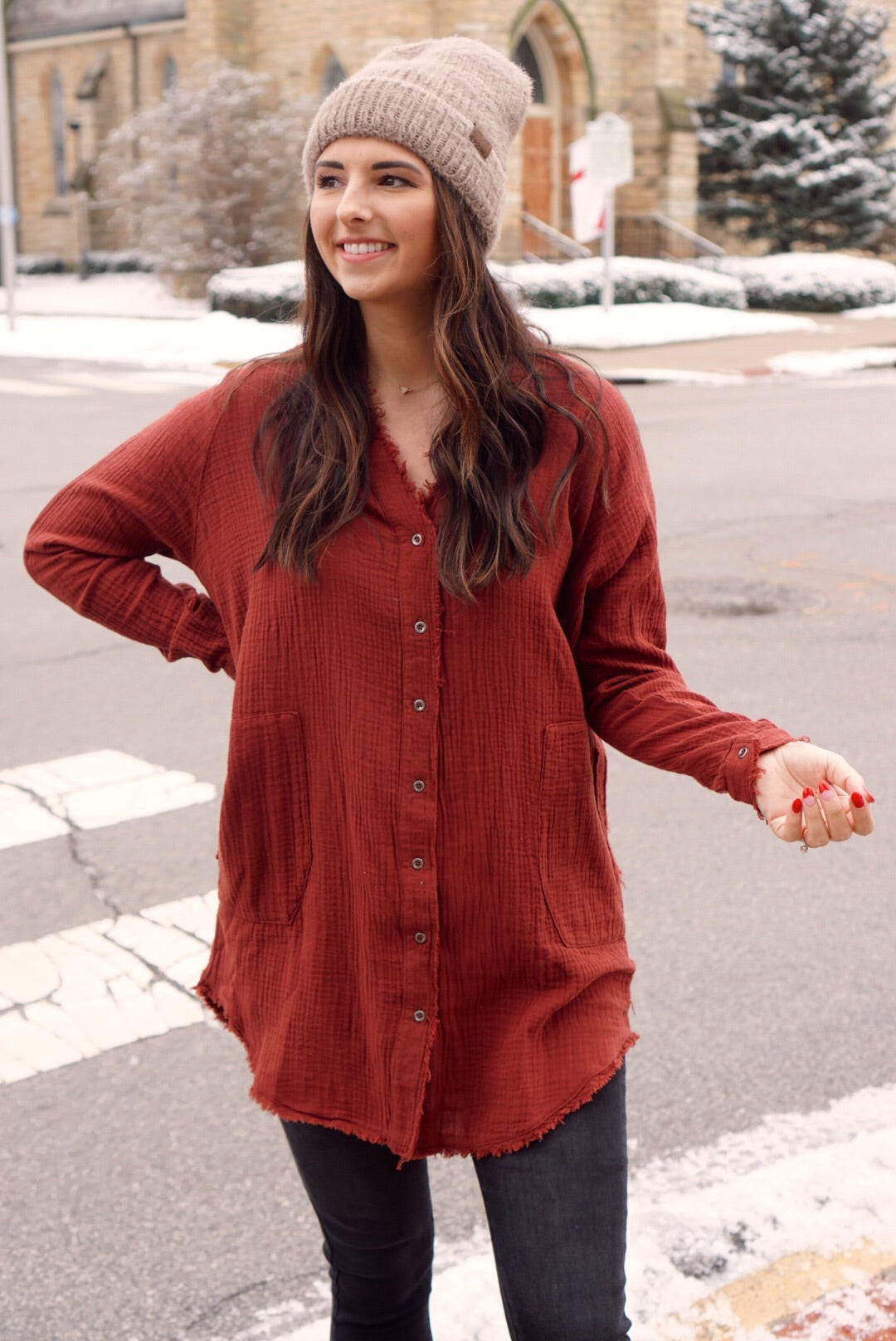 Don't Think Twice Maroon Linen Tunic